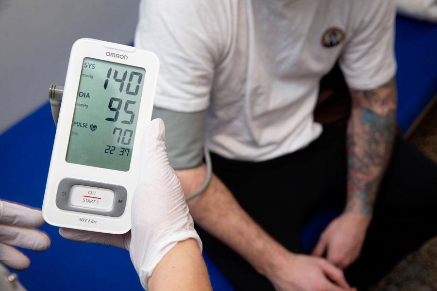Danish inmate having a health check