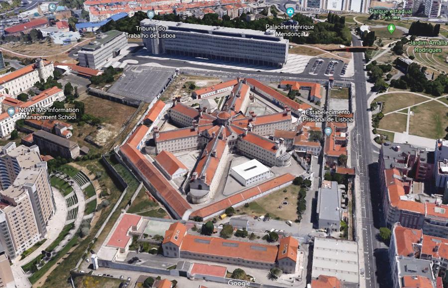 Google Earth image of the prison establishment in Lisbon, Portugal